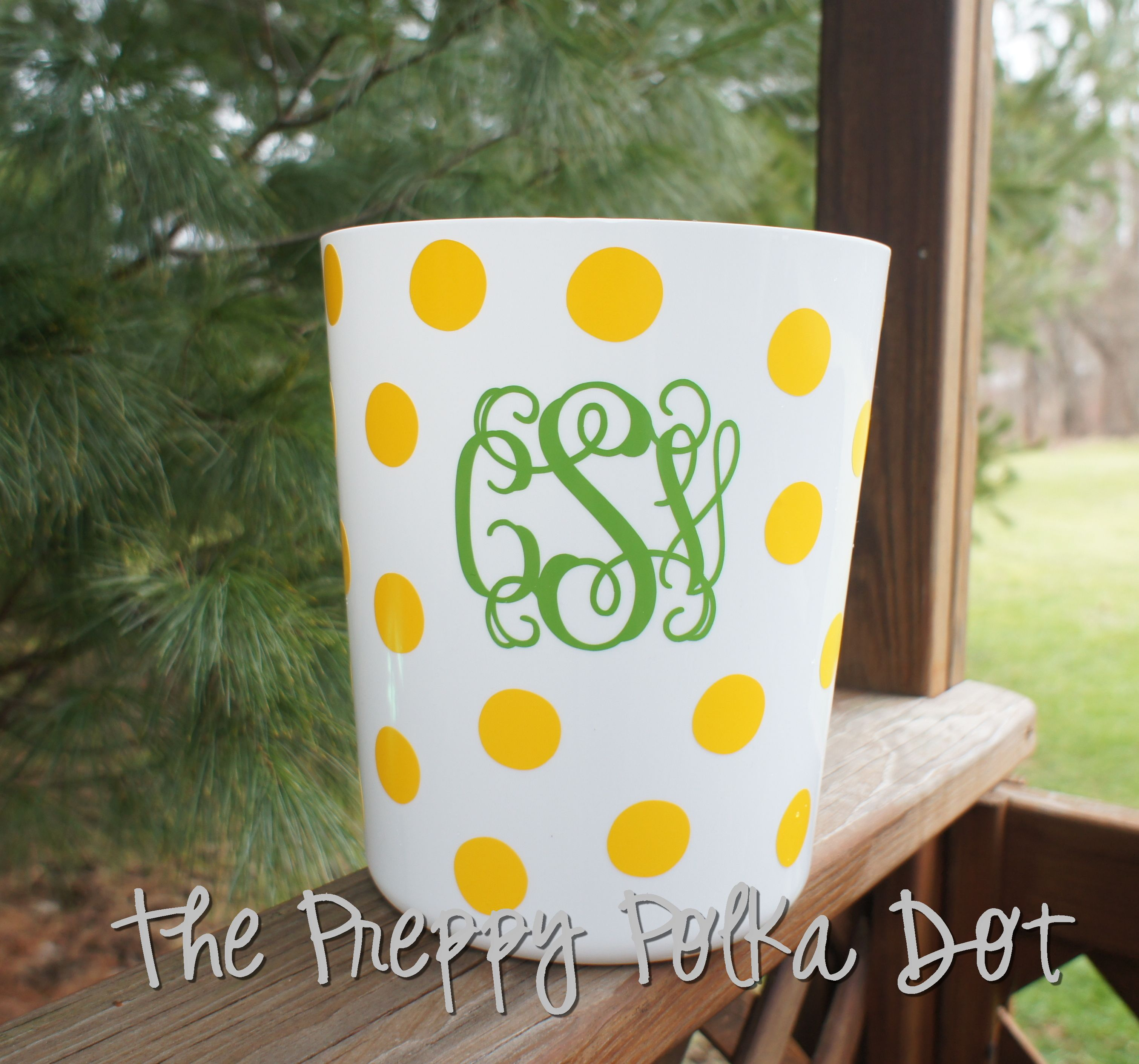 Personalized Polka Dot Trash Can