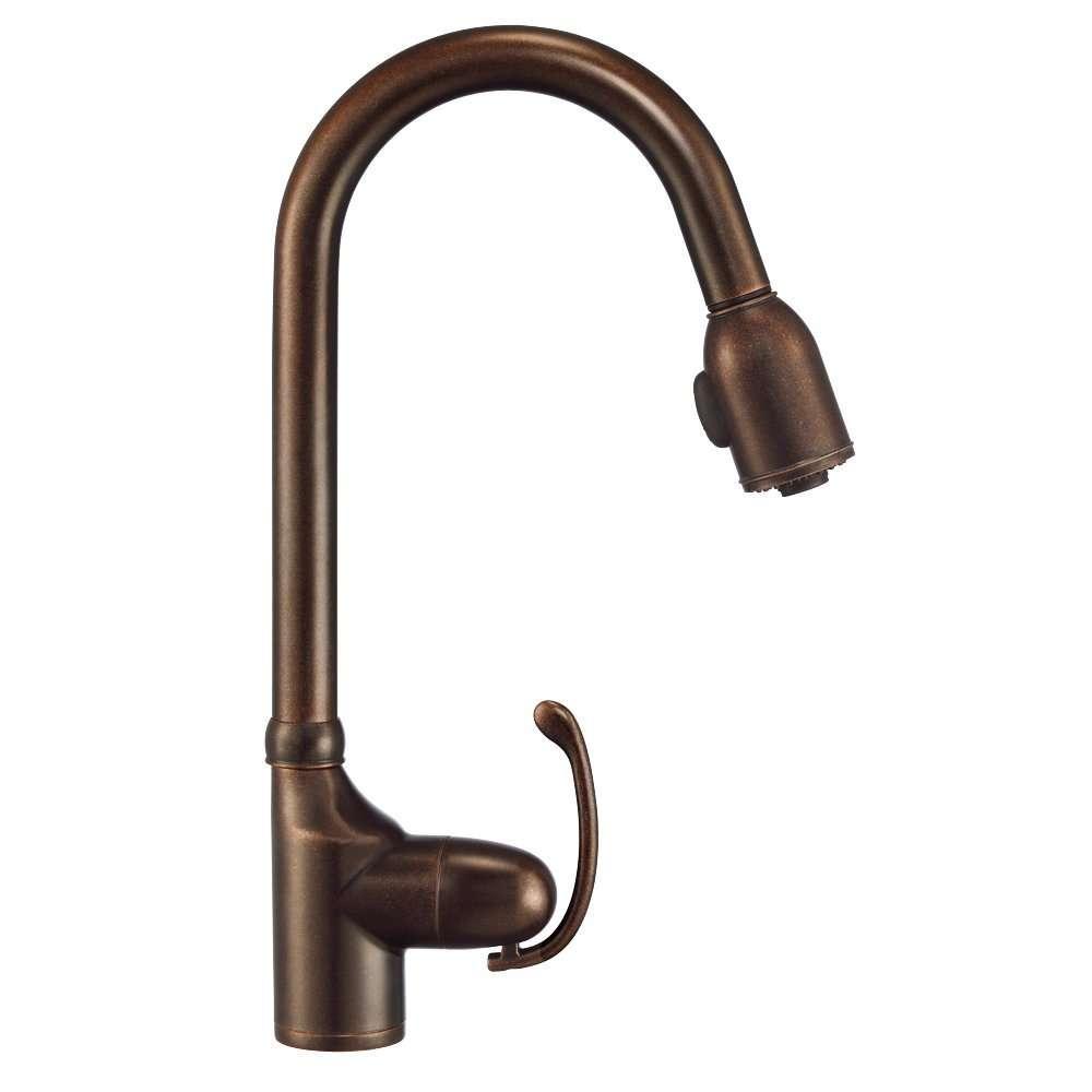 Danze d454520br anu single handle pull down kitchen faucet for Danze inc